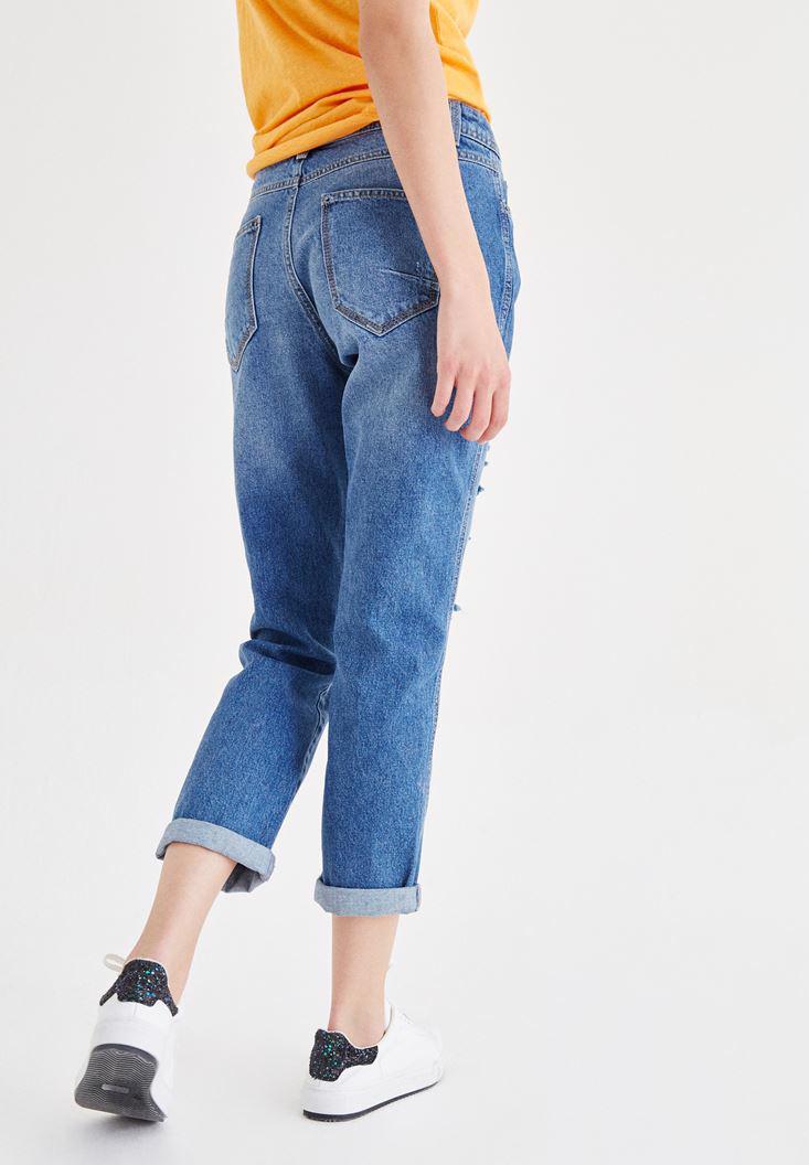 Women Blue Boyfriend Jeans