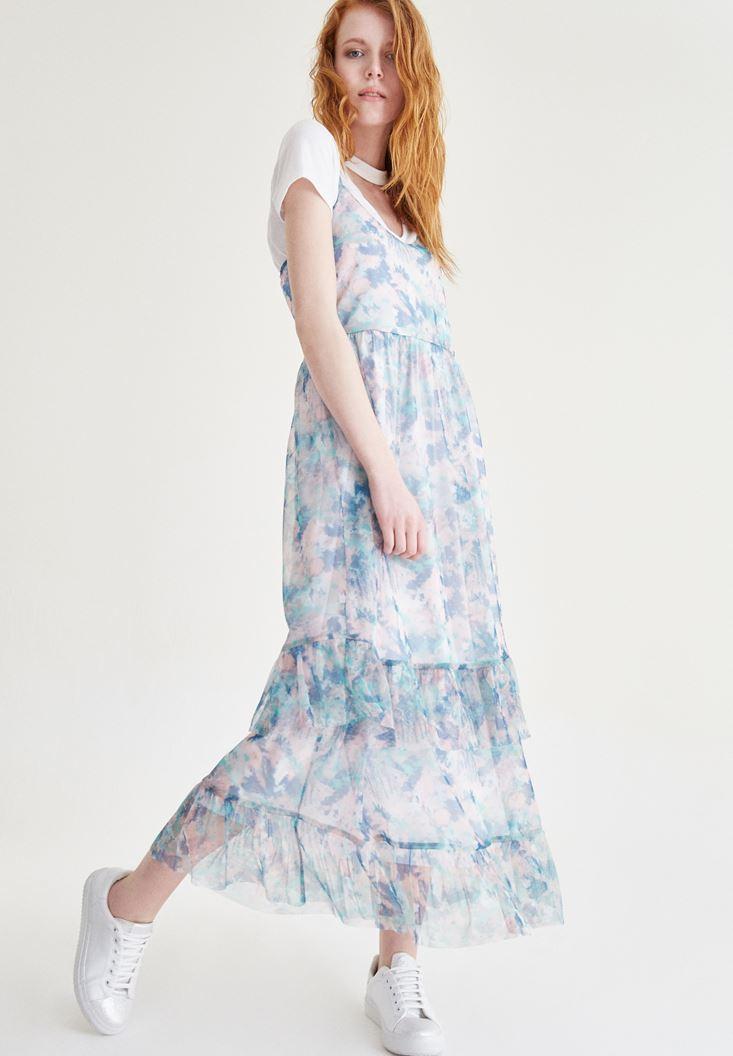 Bayan Çok Renkli Fırfırlı Uzun Elbise