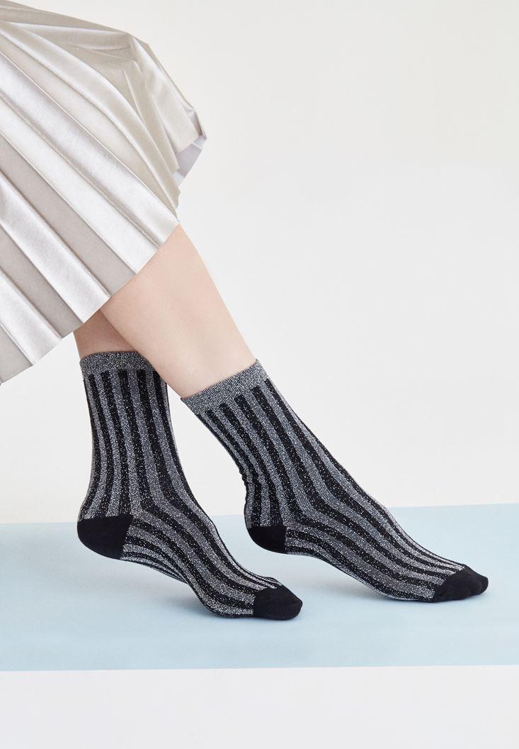 Bayan Gri Çizgili Çorap