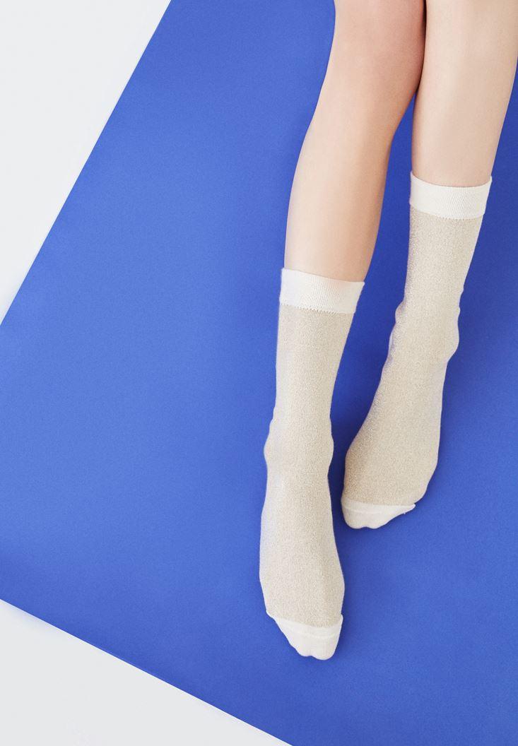 Bayan Altın Simli Çorap