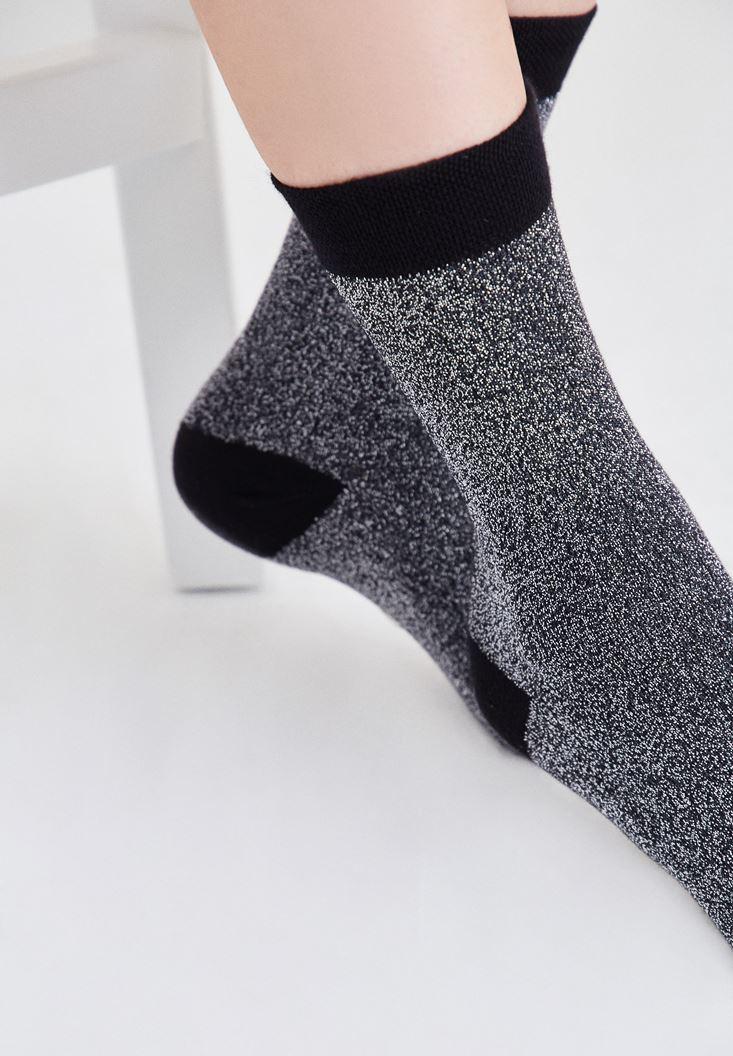 Bayan Gri Simli Çorap