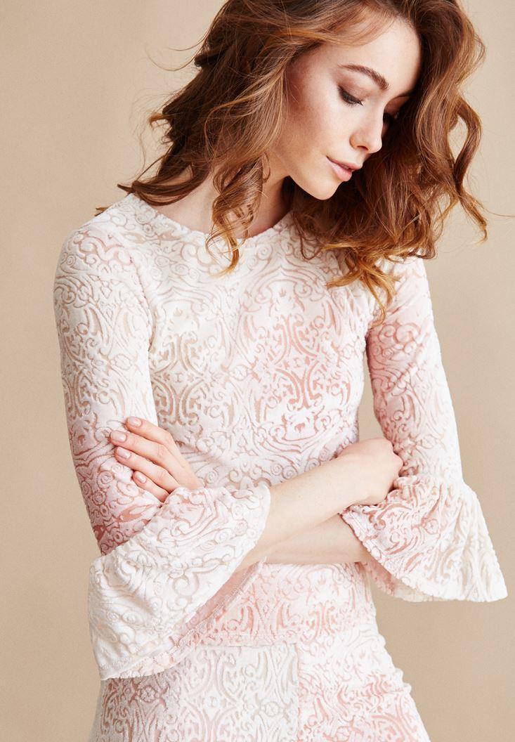Pink Patterned Detail Velvet Blouse