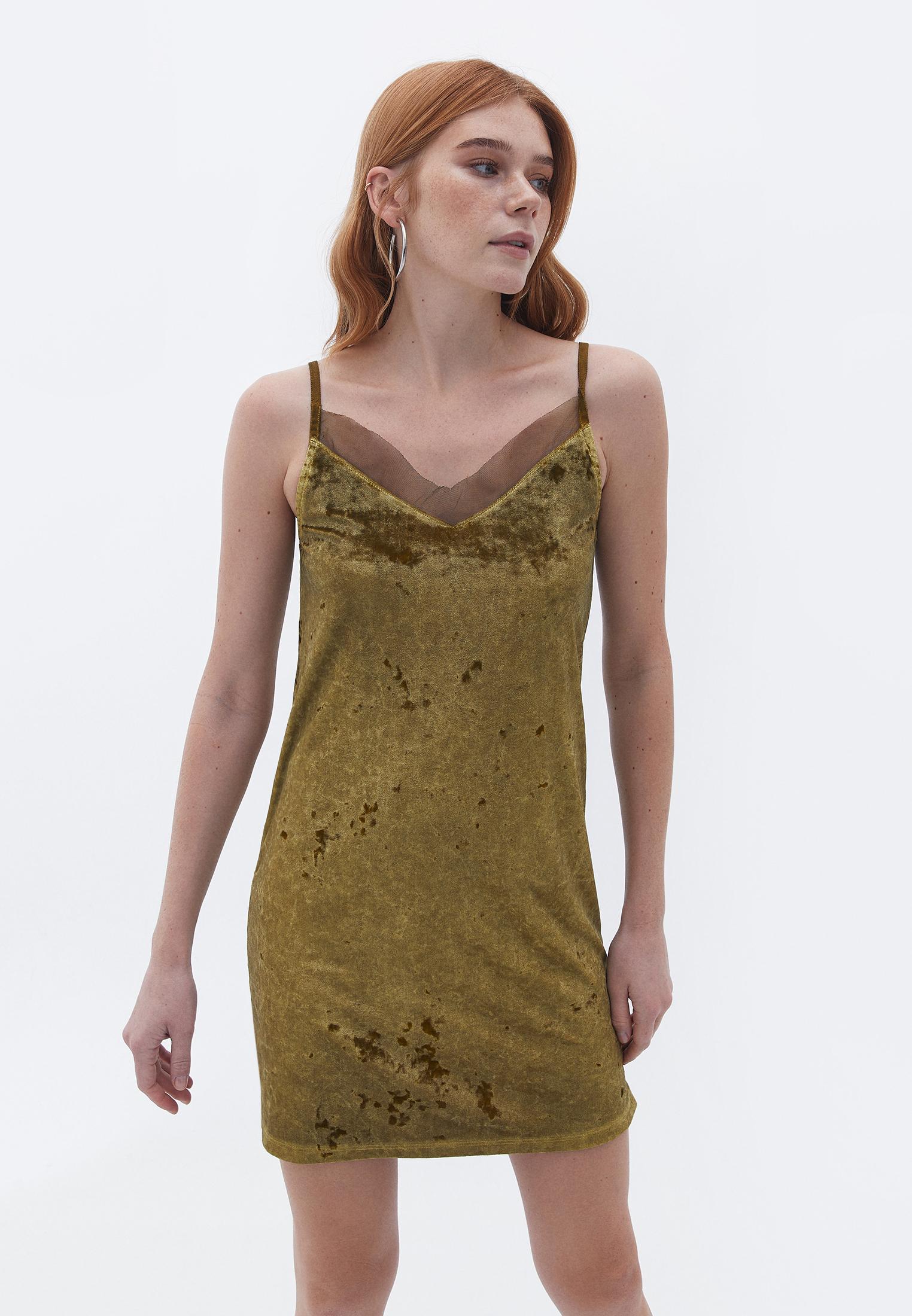 Bayan Yeşil İnce Askılı Kadife Elbise