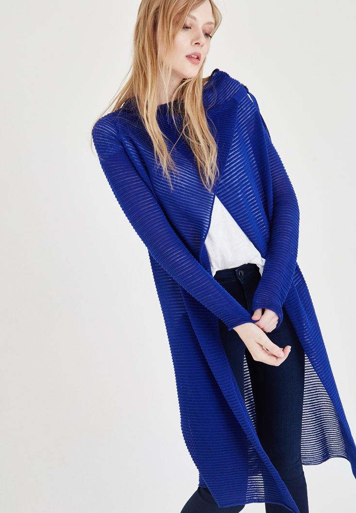 Bayan Mavi Çizgili Uzun Hırka