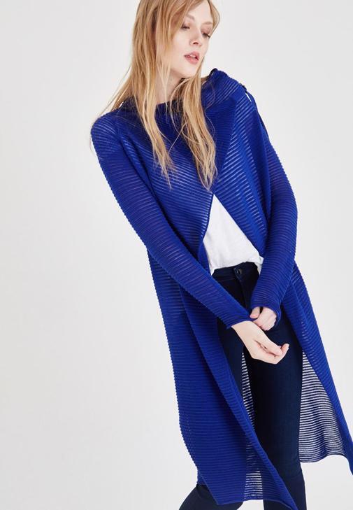Mavi Çizgili Uzun Hırka
