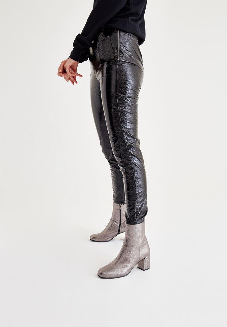Bayan Siyah Rugan Pantolon