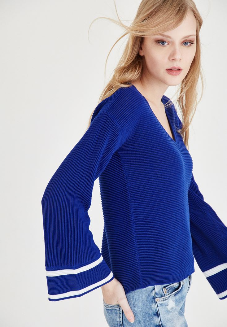 Blue V Neck Sleeve Detailed Pullover