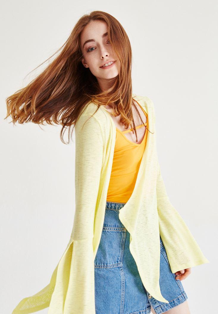 Bayan Sarı Kol Detaylı Hırka