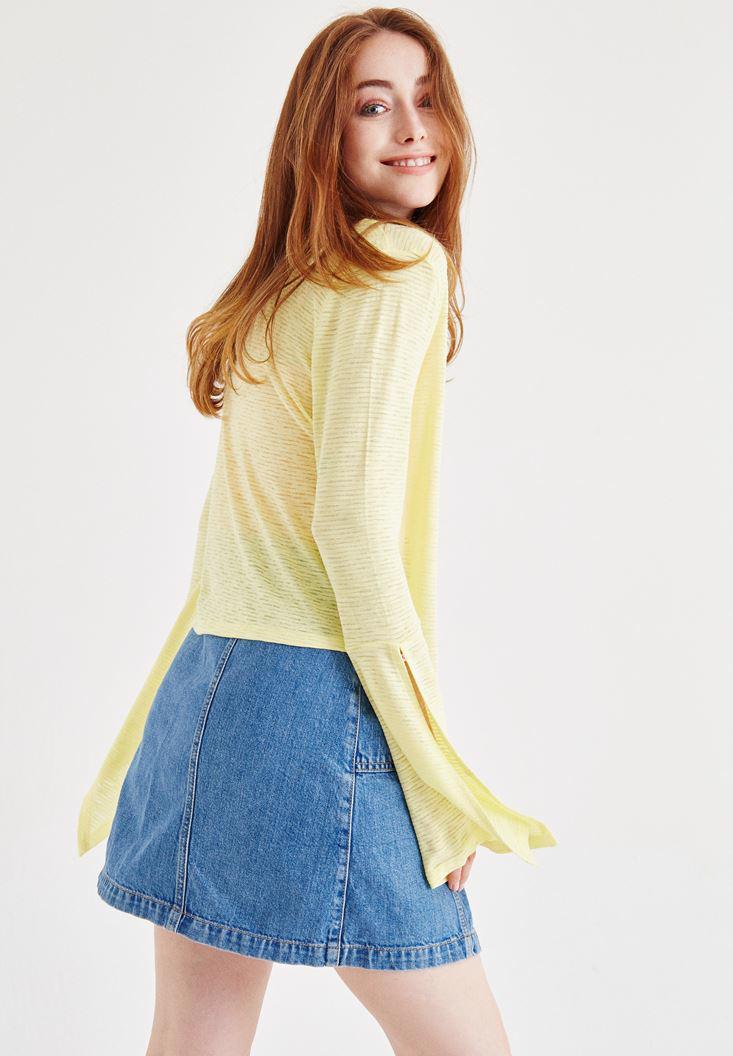 Bayan Sarı Flare Kol Detaylı Hırka