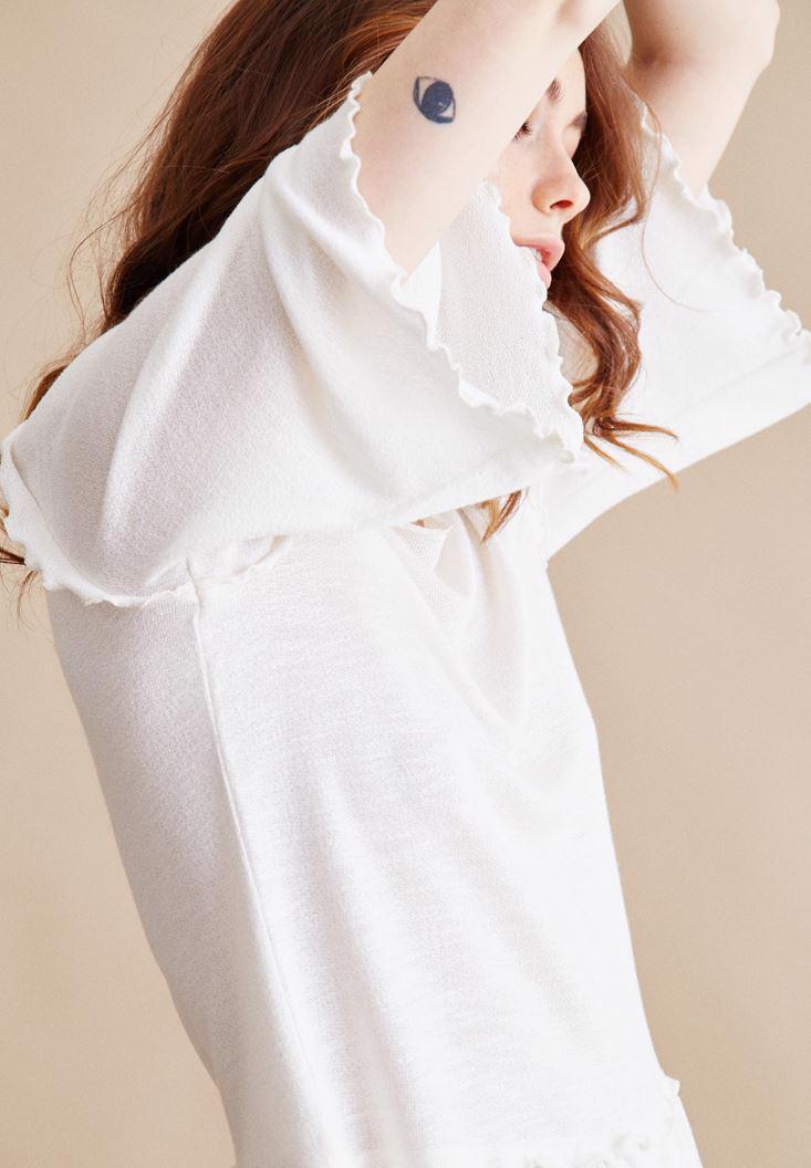 Bayan Krem Kolları Fırfır Detaylı Bluz