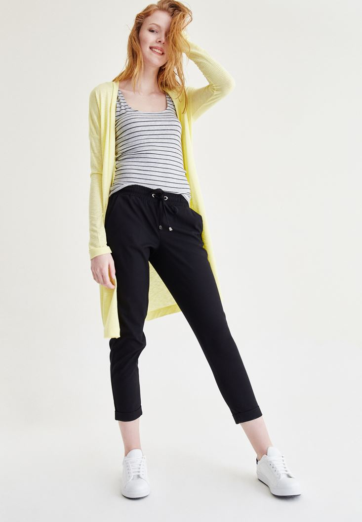 Yellow Basic Cardigan