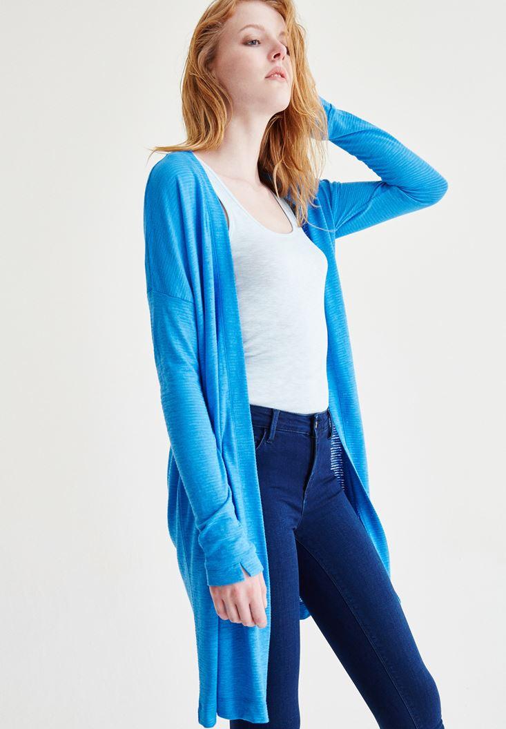 Bayan Mavi Basic Hırka