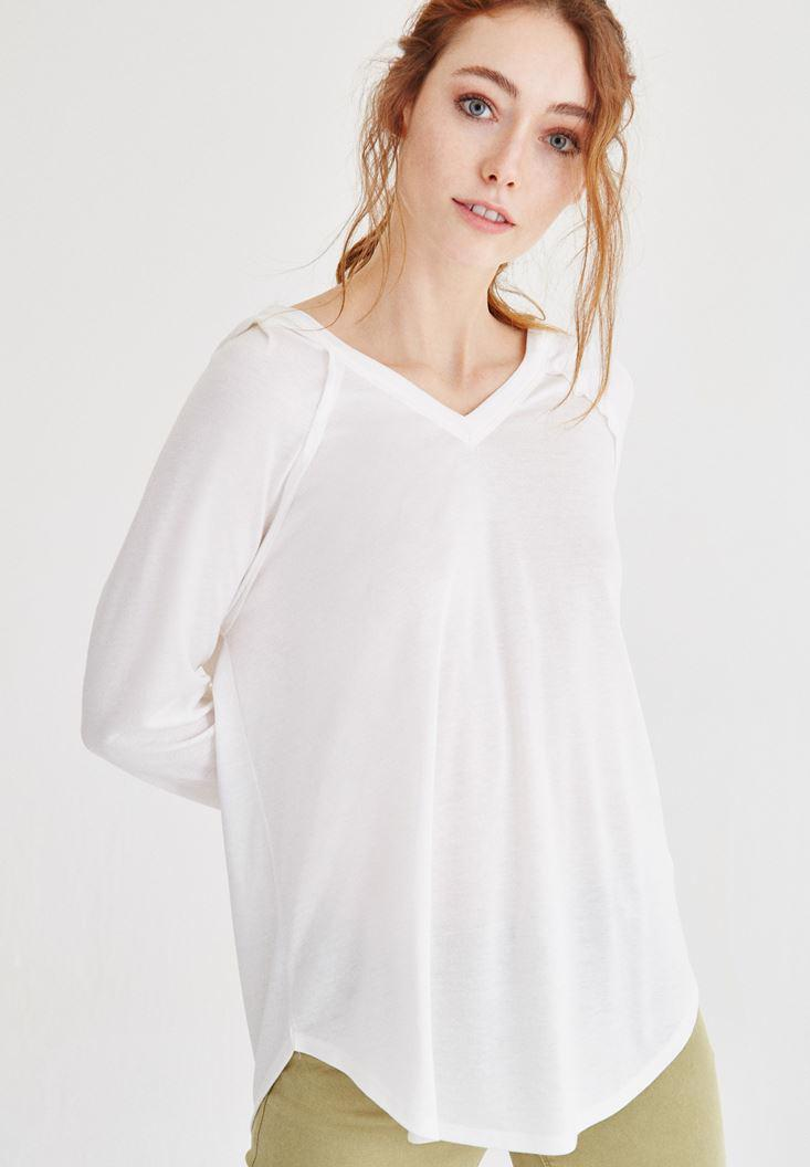 Bayan Krem Kapüşonlu Dökümlü Tişört