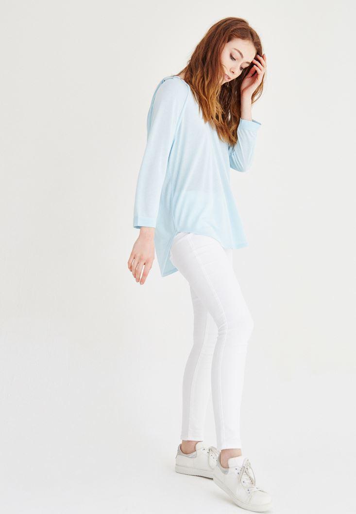 Mavi Kapüşonlu Dökümlü Tişört