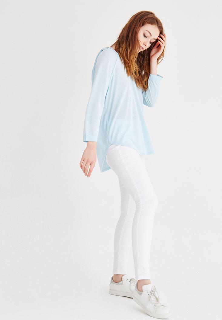 Bayan Mavi Kapüşonlu Dökümlü Tişört