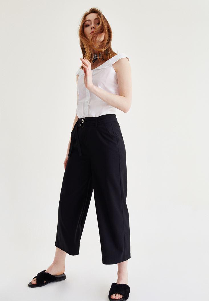 Kemer Detaylı Culotte Pantolon
