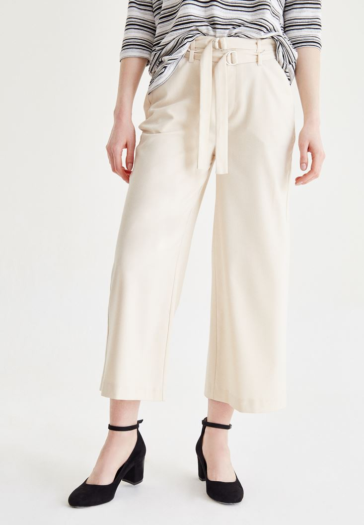 Krem Kemer Detaylı Culotte Pantolon