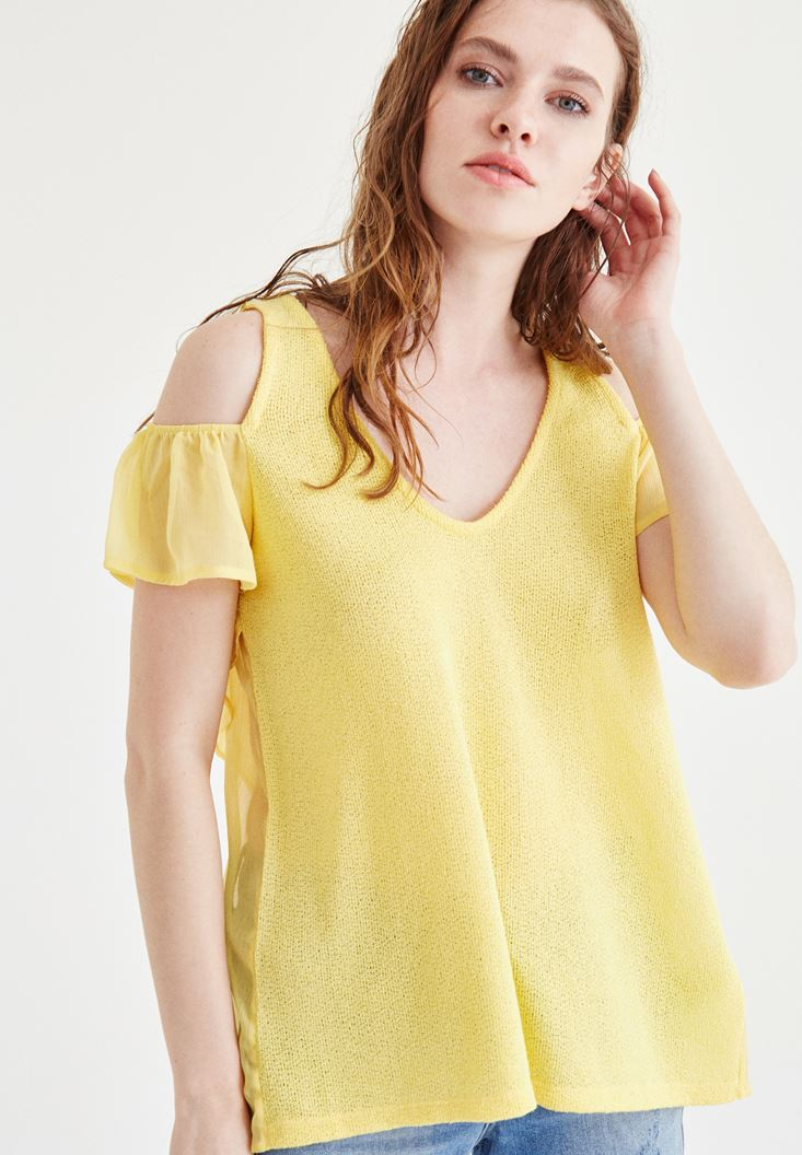 Yellow Blouse With Tulle Sleeve