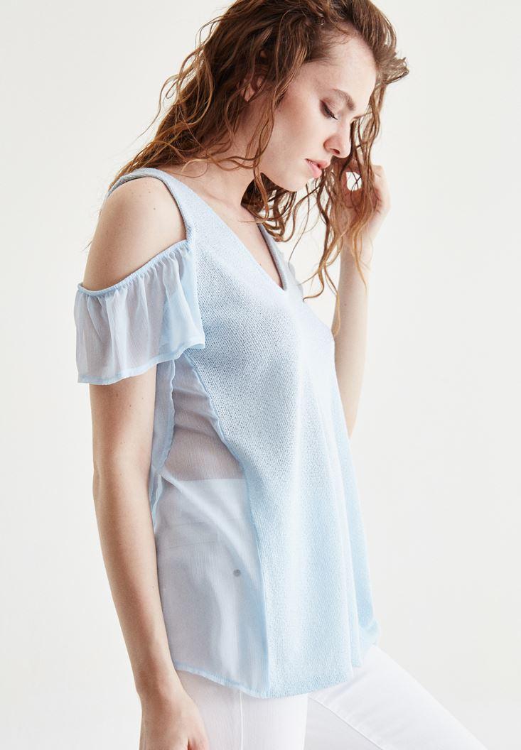 Mavi Tül Kollu Bluz