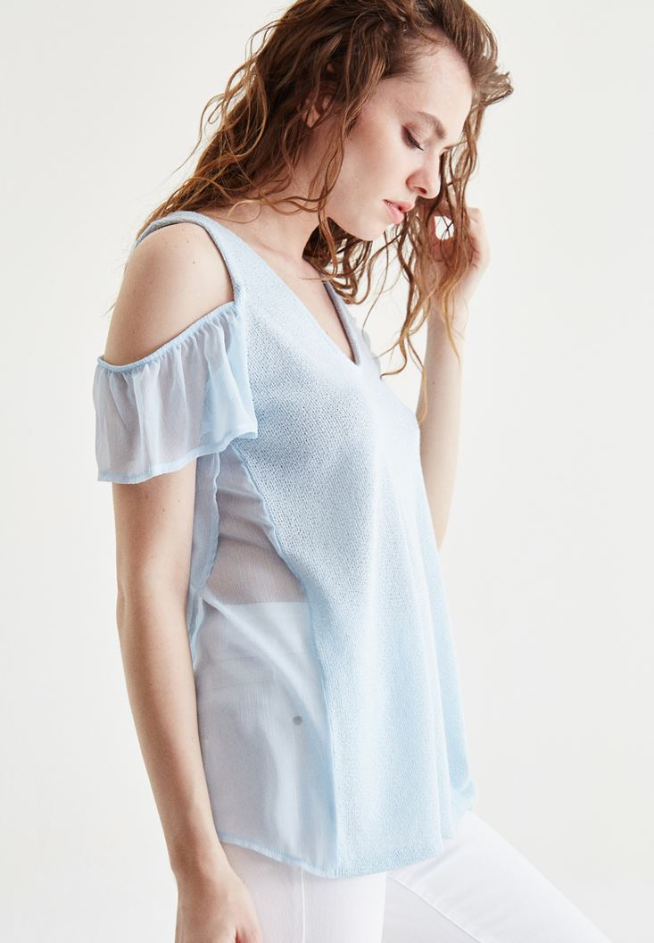 Blue Blouse With Tulle Sleeve