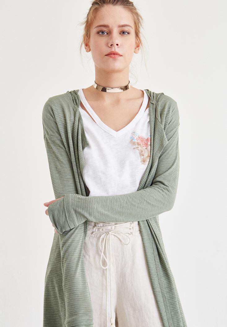 Bayan Yeşil Kapüşonlu Hırka