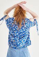 Bayan Çok Renkli Omuz Detaylı Baskılı Bluz