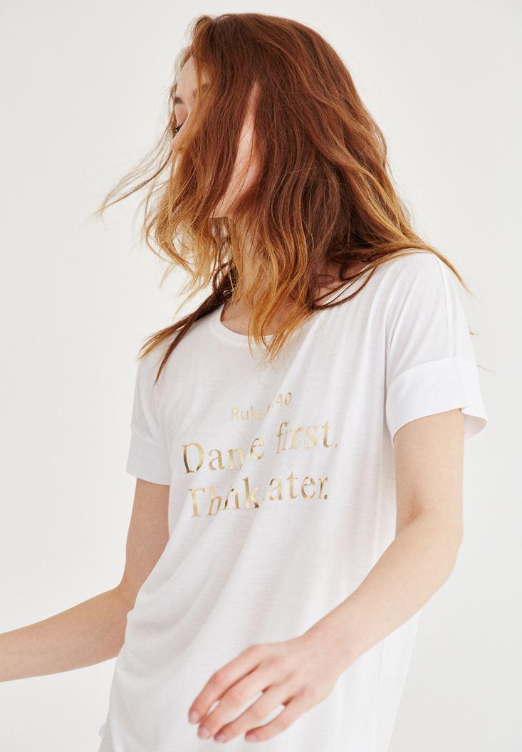 Beyaz Parlak Baskılı Tişört