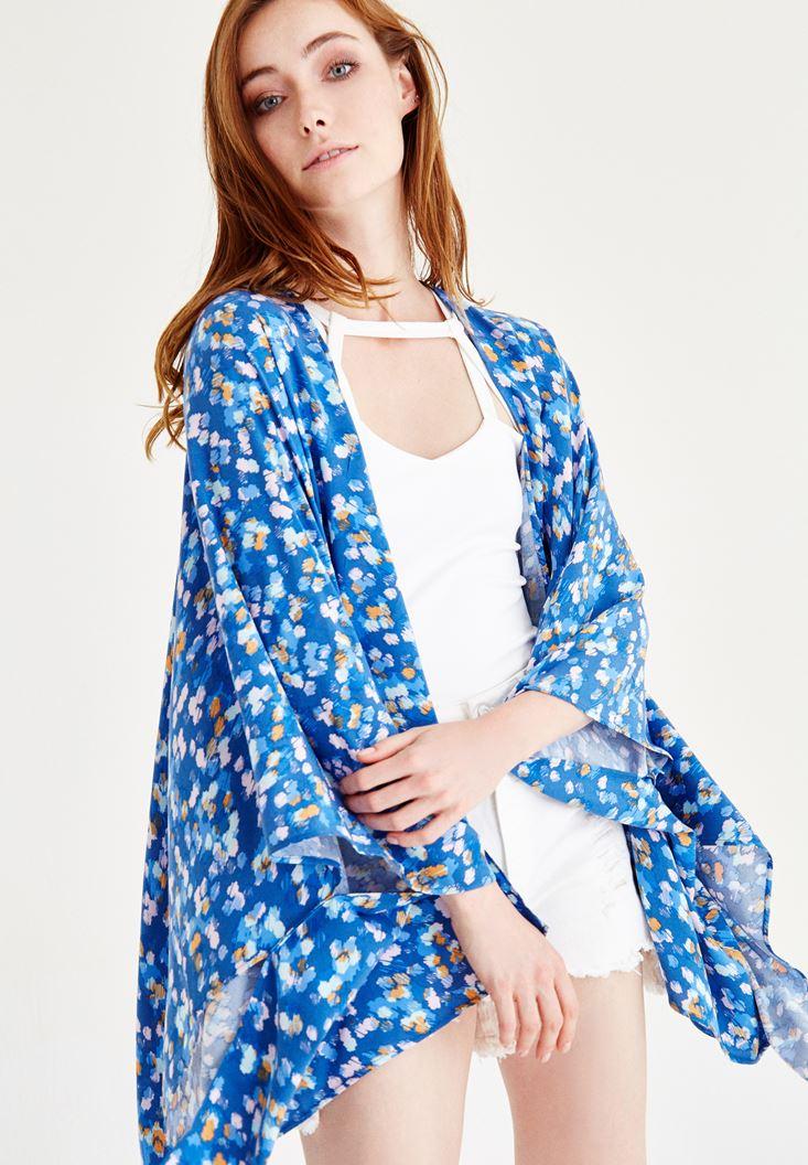 Çok Renkli Desenli Uzun Kollu Kimono