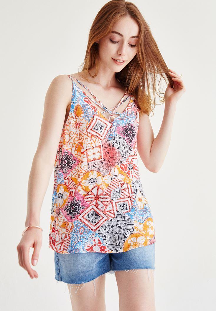 Bayan Çok Renkli Desenli Bluz