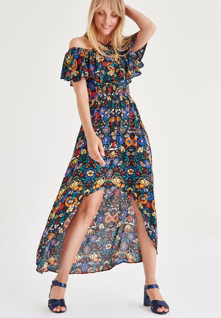Çok Renkli Desenli Elbise