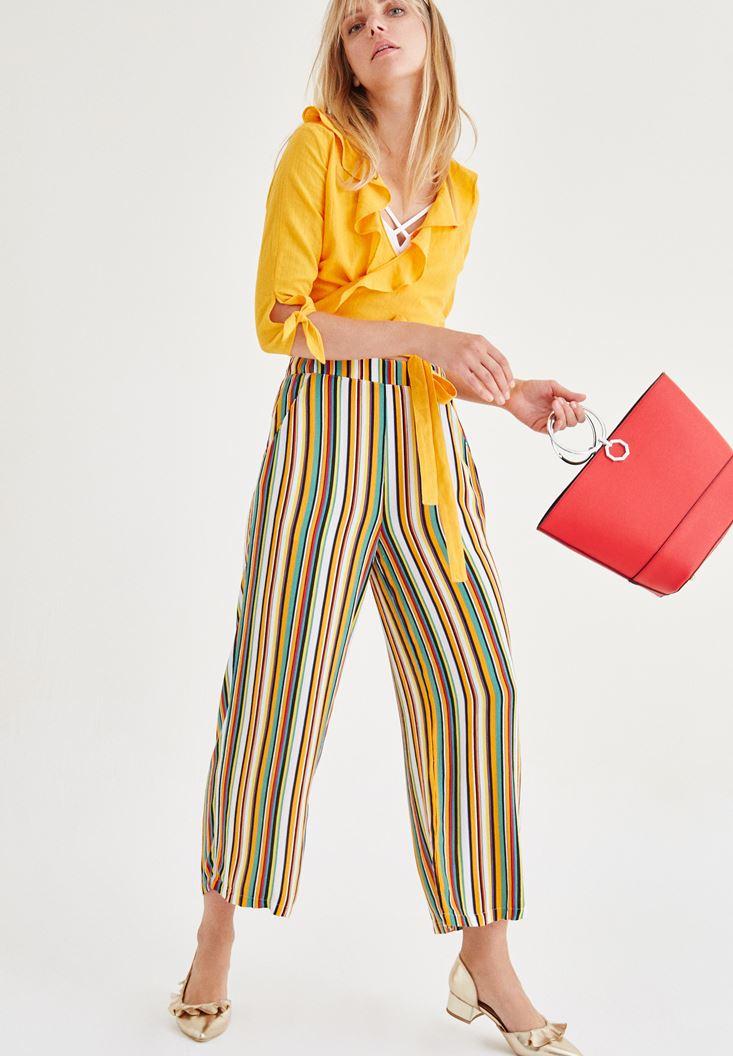 Çok Renkli Desenli Pantolon