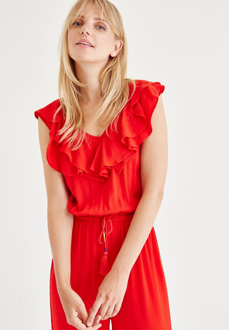 Bayan Kırmızı V Yaka Tulum