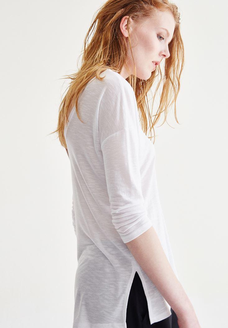 Bayan Beyaz V Yaka Truvakar Kol Bluz
