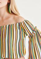 Bayan Çok Renkli Düşük Omuzlu Desenli Bluz