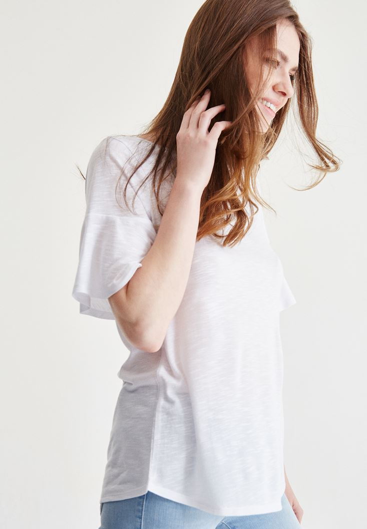 Bayan Beyaz Kolları Volanlı Bluz