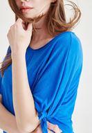 Bayan Mavi Kol Detaylı Dökümlü Bluz