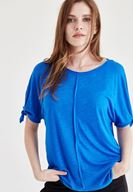 Bayan Mavi Kol Detaylı Bluz