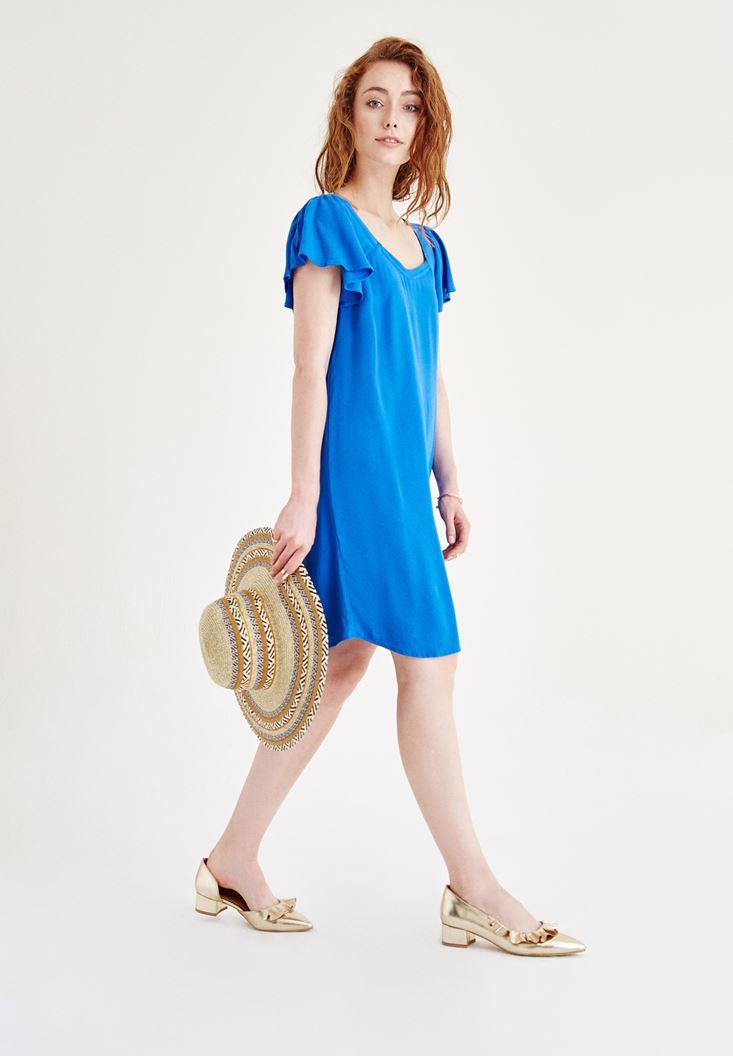 Mavi Sırt Detaylı Elbise