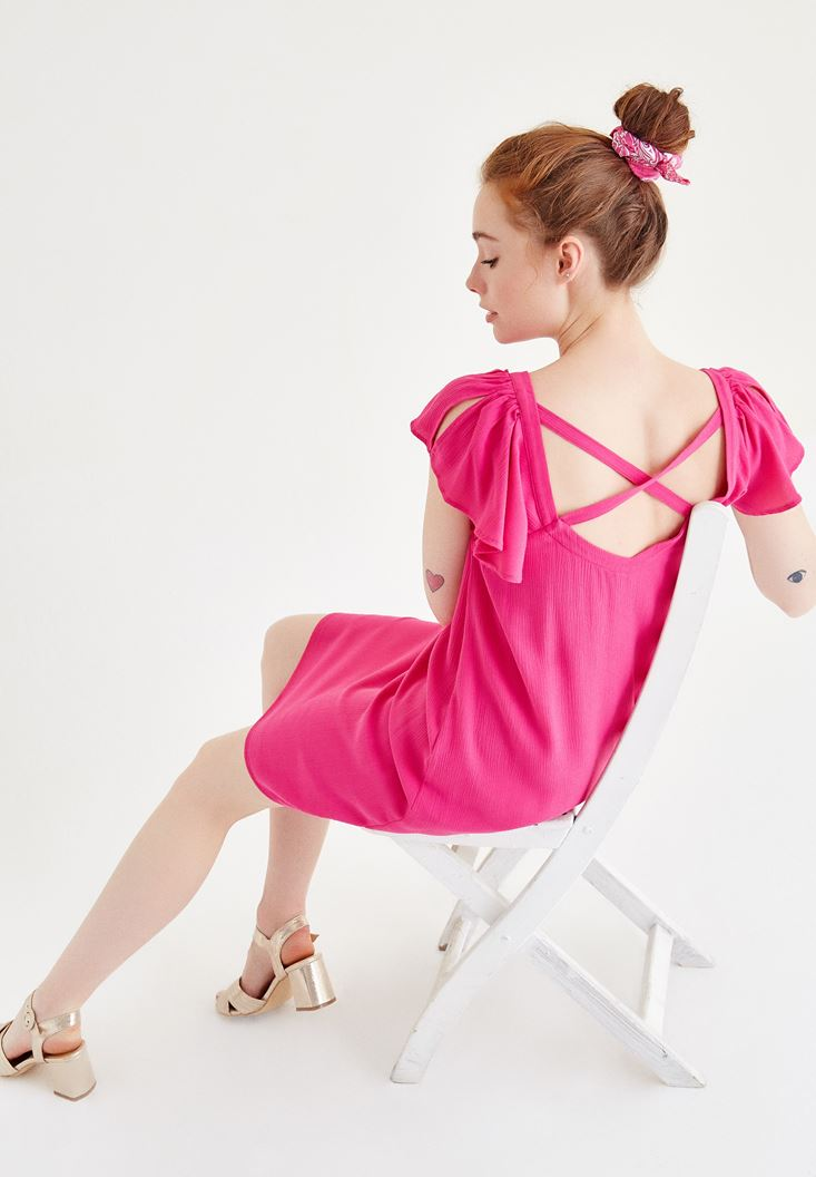Bayan Pembe Sırt Detaylı Elbise