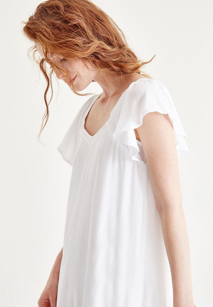 Bayan Beyaz Sırt Detaylı Elbise
