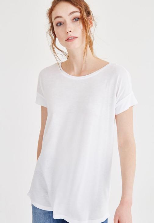 Beyaz Bisiklet Yaka Basic Tişört