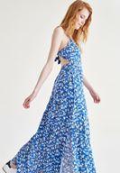 Bayan Çok Renkli Sırt Detaylı Baskılı Elbise