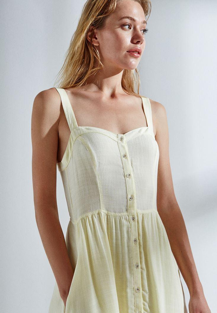 Bayan Sarı Düğmeli Elbise