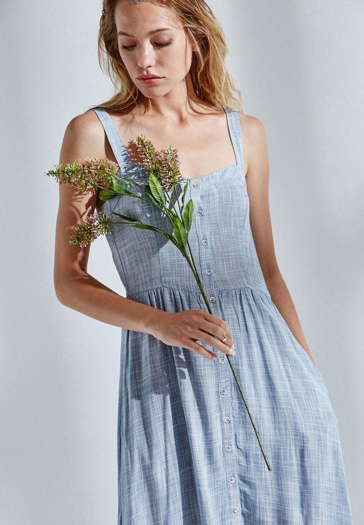 Mavi Düğmeli Elbise