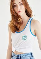 Women White Embroidery Detailed Tank