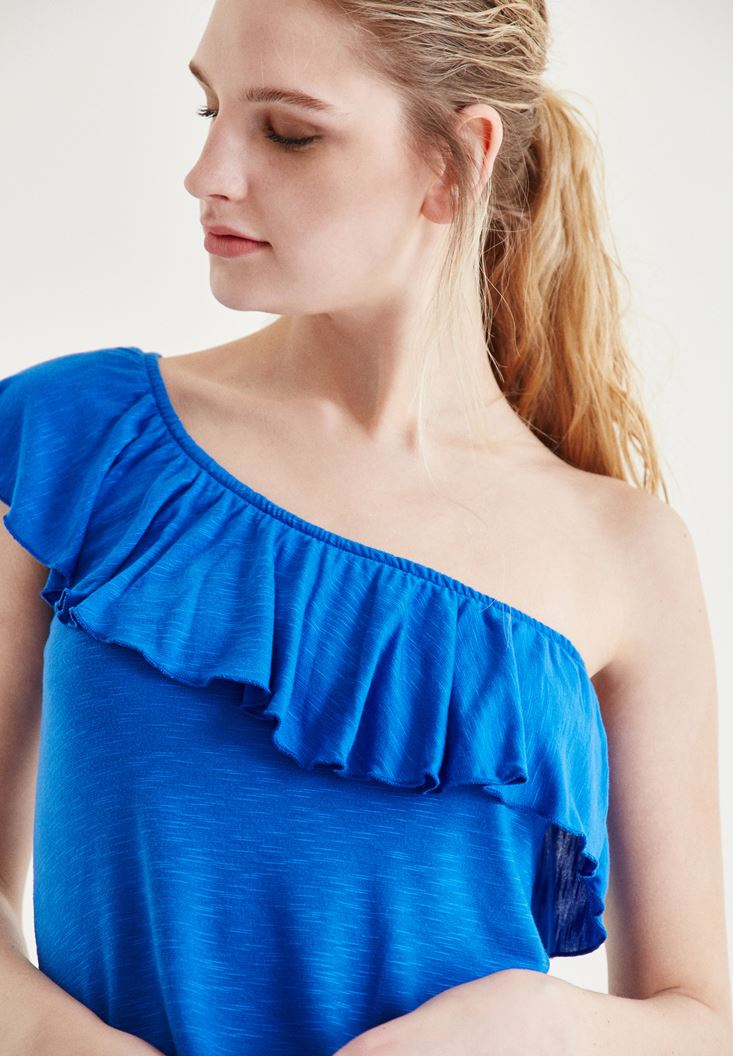Blue Blouse With One-Shoulder