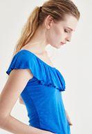 Bayan Mavi Tek Omuz Bluz