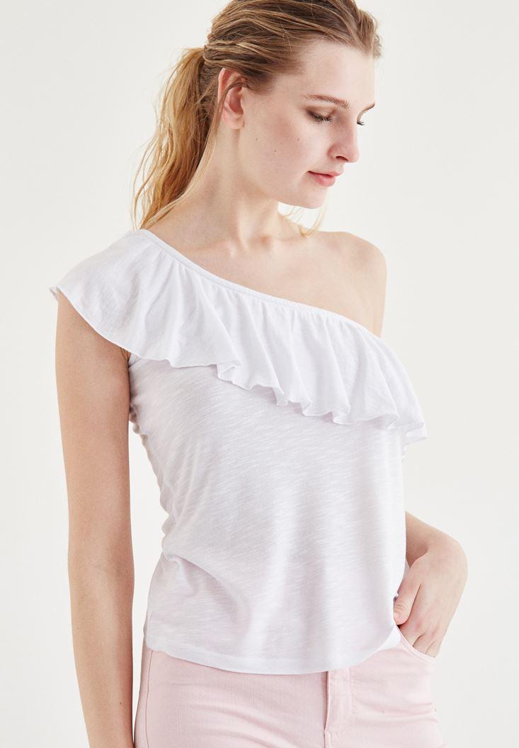 Bayan Beyaz Tek Omuz Bluz
