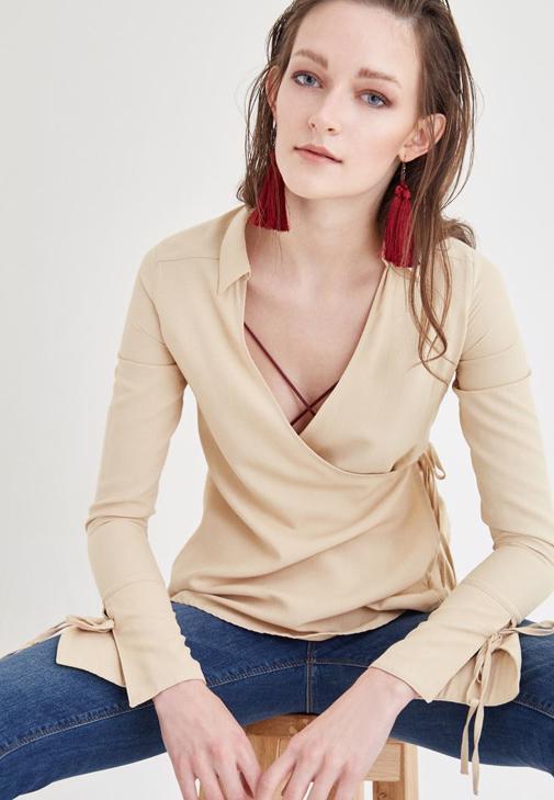 Kahverengi Kruvaze Bluz