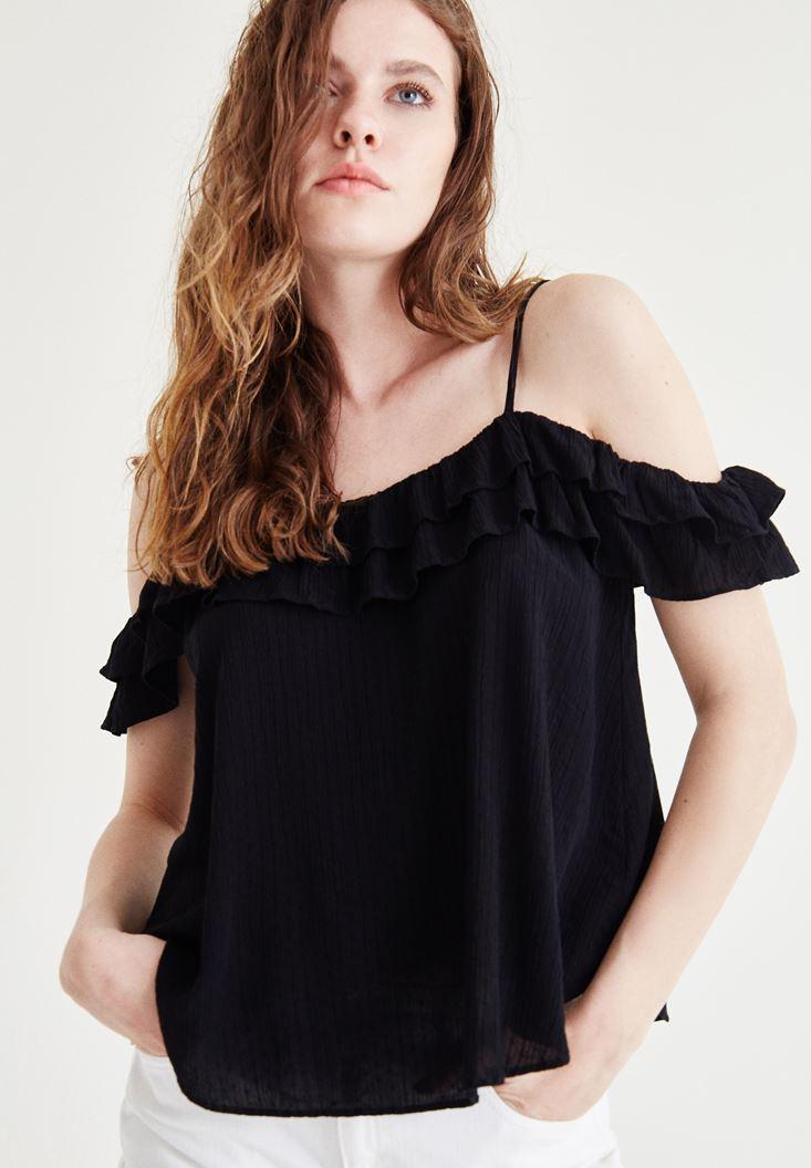 Bayan Siyah Fırfır Detaylı Askılı Bluz